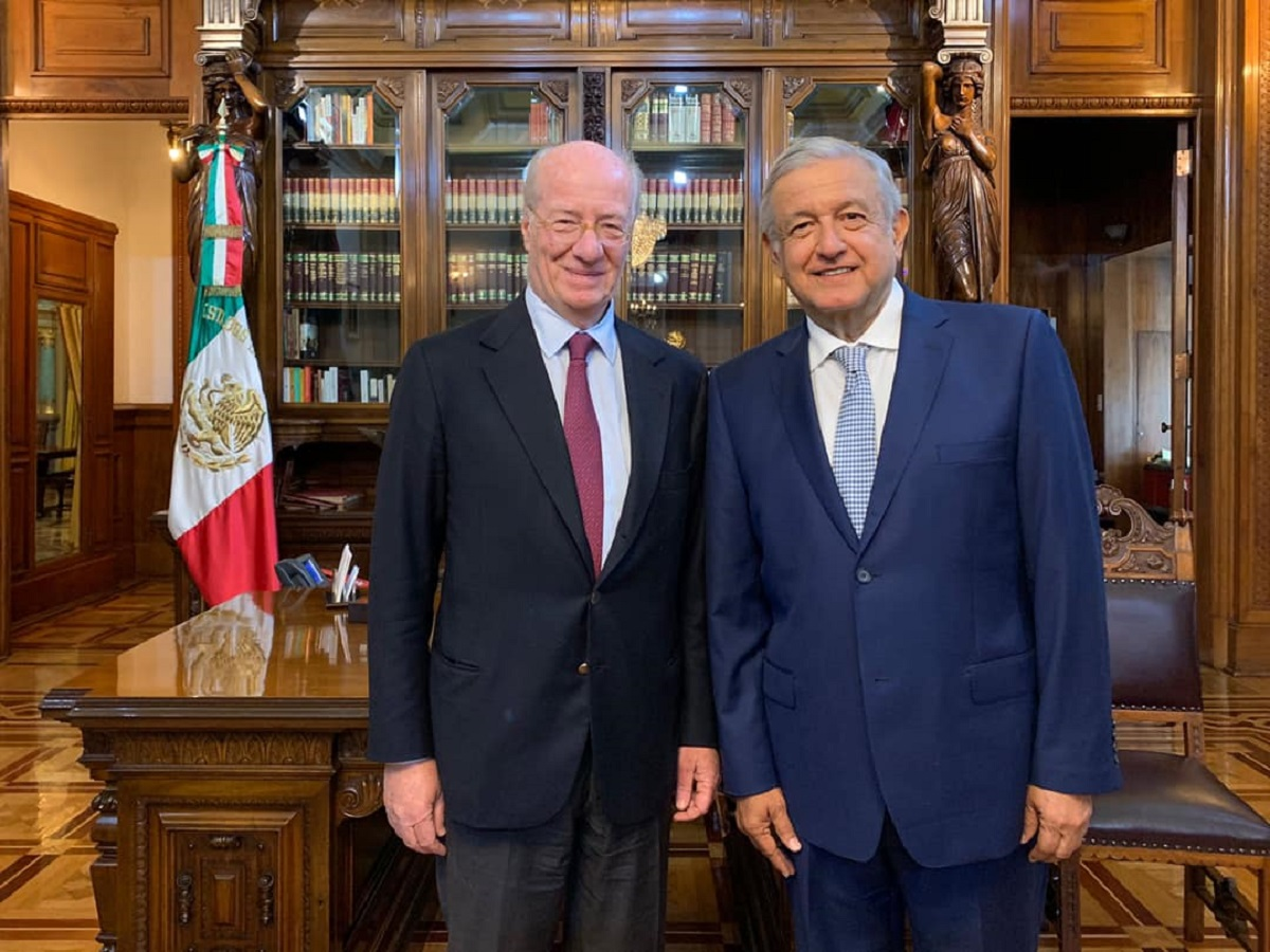 AMLO se reunió en Palacio Nacional con Paolo Rocca, dueño de Grupo Techint. Foto: Presidencia.