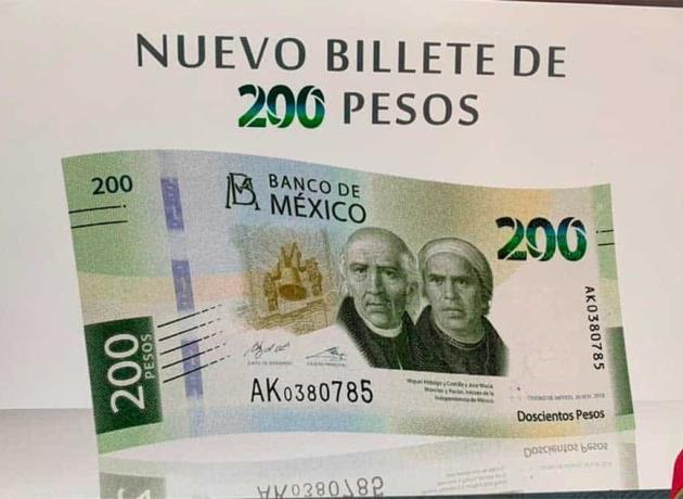 Nuevo diseño del billete de 200 pesos