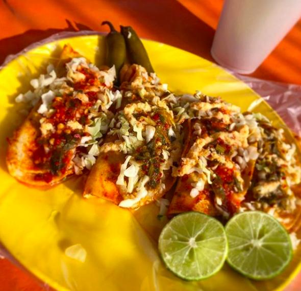 Los tacos tienen 7 rellenos diferentes: chicharrón prensado, cochinita, carnitas, pechuga de pollo en mole rojo y verde, papa y frijol