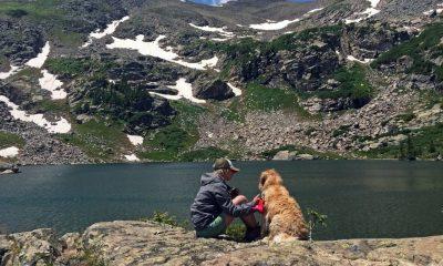 Imagen exterior montañas, río, nueva, persona y perro